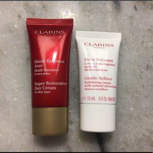 Clarins super restorative day cream & scrub minis